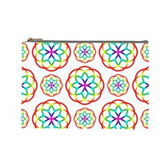 Geometric Circles Seamless Rainbow Colors Geometric Circles Seamless Pattern On White Background Cosmetic Bag (large)