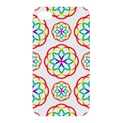 Geometric Circles Seamless Rainbow Colors Geometric Circles Seamless Pattern On White Background Apple Iphone 4/4s Hardshell Case by Simbadda