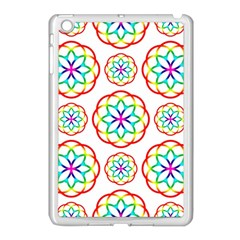 Geometric Circles Seamless Rainbow Colors Geometric Circles Seamless Pattern On White Background Apple Ipad Mini Case (white)