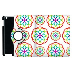 Geometric Circles Seamless Rainbow Colors Geometric Circles Seamless Pattern On White Background Apple Ipad 2 Flip 360 Case by Simbadda
