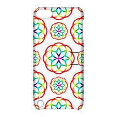 Geometric Circles Seamless Rainbow Colors Geometric Circles Seamless Pattern On White Background Apple Ipod Touch 5 Hardshell Case With Stand by Simbadda