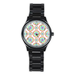 Geometric Circles Seamless Rainbow Colors Geometric Circles Seamless Pattern On White Background Stainless Steel Round Watch by Simbadda