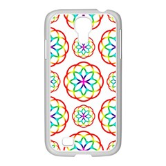 Geometric Circles Seamless Rainbow Colors Geometric Circles Seamless Pattern On White Background Samsung Galaxy S4 I9500/ I9505 Case (white) by Simbadda