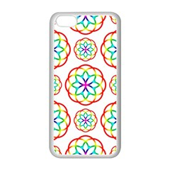 Geometric Circles Seamless Rainbow Colors Geometric Circles Seamless Pattern On White Background Apple Iphone 5c Seamless Case (white) by Simbadda