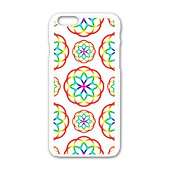 Geometric Circles Seamless Rainbow Colors Geometric Circles Seamless Pattern On White Background Apple Iphone 6/6s White Enamel Case by Simbadda
