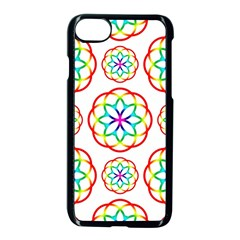 Geometric Circles Seamless Rainbow Colors Geometric Circles Seamless Pattern On White Background Apple Iphone 7 Seamless Case (black) by Simbadda