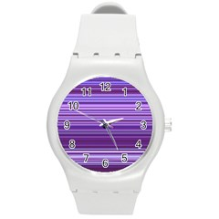Stripe Colorful Background Round Plastic Sport Watch (m)