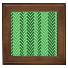 Green Herringbone Pattern Background Wallpaper Framed Tiles