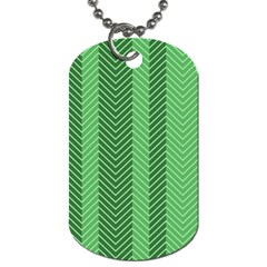 Green Herringbone Pattern Background Wallpaper Dog Tag (two Sides) by Simbadda