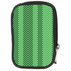 Green Herringbone Pattern Background Wallpaper Compact Camera Cases by Simbadda