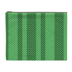 Green Herringbone Pattern Background Wallpaper Cosmetic Bag (xl) by Simbadda