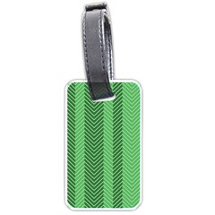Green Herringbone Pattern Background Wallpaper Luggage Tags (one Side)  by Simbadda