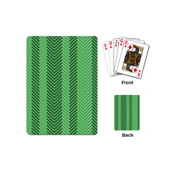 Green Herringbone Pattern Background Wallpaper Playing Cards (mini)  by Simbadda
