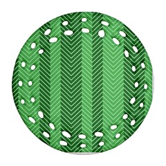 Green Herringbone Pattern Background Wallpaper Ornament (round Filigree)
