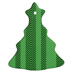 Green Herringbone Pattern Background Wallpaper Christmas Tree Ornament (two Sides)