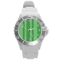 Green Herringbone Pattern Background Wallpaper Round Plastic Sport Watch (l) by Simbadda
