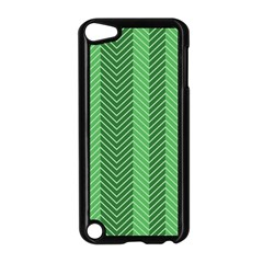 Green Herringbone Pattern Background Wallpaper Apple Ipod Touch 5 Case (black) by Simbadda