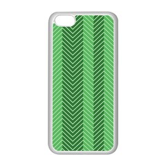 Green Herringbone Pattern Background Wallpaper Apple Iphone 5c Seamless Case (white) by Simbadda