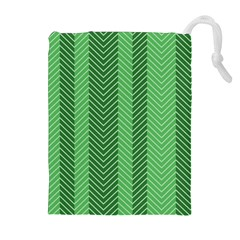Green Herringbone Pattern Background Wallpaper Drawstring Pouches (extra Large)