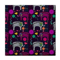Colorful Elephants Love Background Tile Coasters by Simbadda