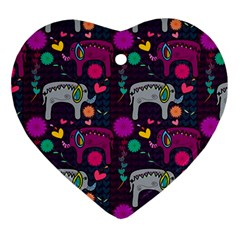 Colorful Elephants Love Background Ornament (heart) by Simbadda