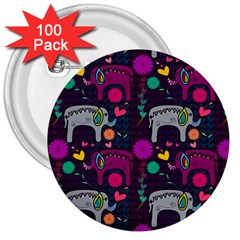 Colorful Elephants Love Background 3  Buttons (100 Pack)  by Simbadda