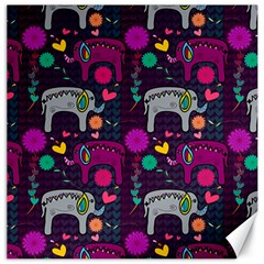 Colorful Elephants Love Background Canvas 16  X 16   by Simbadda