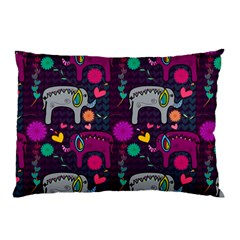 Colorful Elephants Love Background Pillow Case (two Sides) by Simbadda