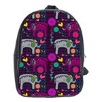 Colorful Elephants Love Background School Bags (XL)  Front