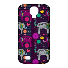 Colorful Elephants Love Background Samsung Galaxy S4 Classic Hardshell Case (pc+silicone)