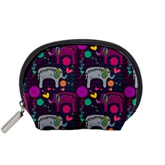 Colorful Elephants Love Background Accessory Pouches (small)  by Simbadda