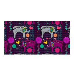Colorful Elephants Love Background Satin Wrap