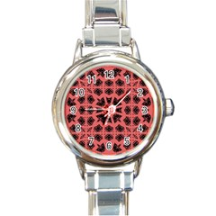 Digital Computer Graphic Seamless Patterned Ornament In A Red Colors For Design Round Italian Charm Watch by Simbadda