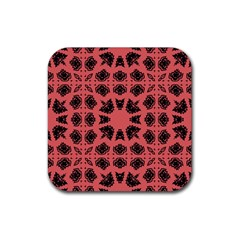 Digital Computer Graphic Seamless Patterned Ornament In A Red Colors For Design Rubber Coaster (square)  by Simbadda