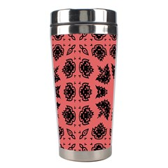 Digital Computer Graphic Seamless Patterned Ornament In A Red Colors For Design Stainless Steel Travel Tumblers by Simbadda