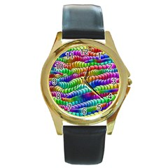 Digitally Created Abstract Rainbow Background Pattern Round Gold Metal Watch