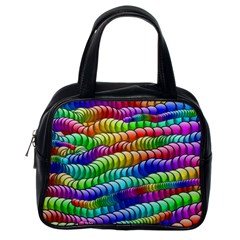 Digitally Created Abstract Rainbow Background Pattern Classic Handbags (one Side) by Simbadda