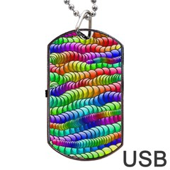 Digitally Created Abstract Rainbow Background Pattern Dog Tag Usb Flash (two Sides) by Simbadda
