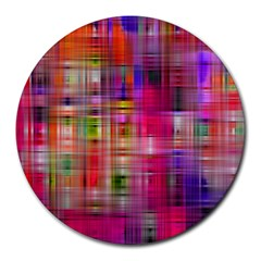 Background Abstract Weave Of Tightly Woven Colors Round Mousepads by Simbadda