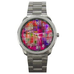 Background Abstract Weave Of Tightly Woven Colors Sport Metal Watch