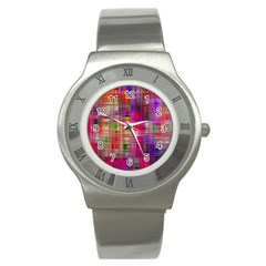 Background Abstract Weave Of Tightly Woven Colors Stainless Steel Watch by Simbadda