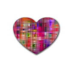 Background Abstract Weave Of Tightly Woven Colors Rubber Coaster (heart)  by Simbadda