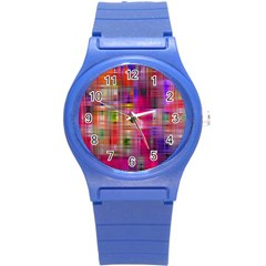 Background Abstract Weave Of Tightly Woven Colors Round Plastic Sport Watch (s) by Simbadda