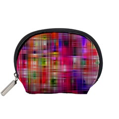 Background Abstract Weave Of Tightly Woven Colors Accessory Pouches (small)  by Simbadda