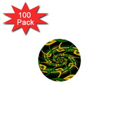 Green Yellow Fractal Vortex In 3d Glass 1  Mini Buttons (100 Pack)