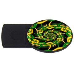 Green Yellow Fractal Vortex In 3d Glass Usb Flash Drive Oval (2 Gb) by Simbadda