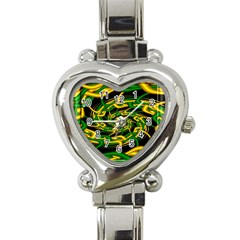 Green Yellow Fractal Vortex In 3d Glass Heart Italian Charm Watch by Simbadda