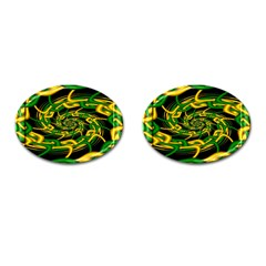 Green Yellow Fractal Vortex In 3d Glass Cufflinks (oval) by Simbadda