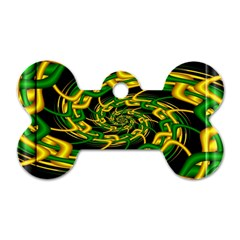 Green Yellow Fractal Vortex In 3d Glass Dog Tag Bone (one Side) by Simbadda