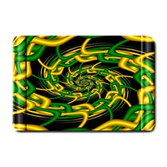 Green Yellow Fractal Vortex In 3d Glass Small Doormat  by Simbadda
